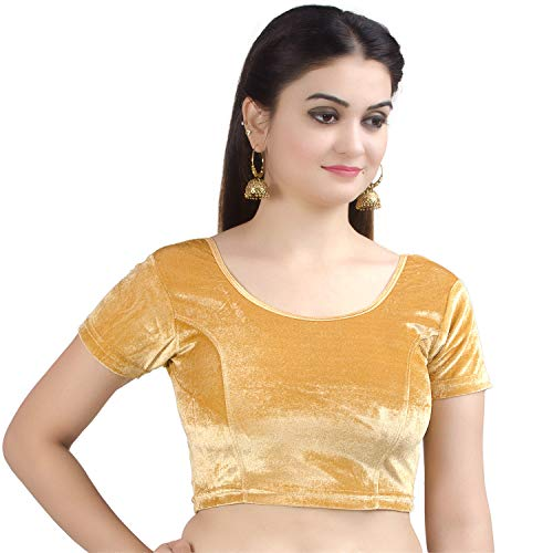 - Chandrakala Women's Stretchable Readymade Velvet Beige Indian Ethnic Saree Blouse Crop Top Choli-Small (B130BEI2)
