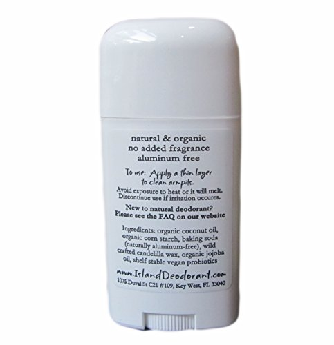 Organic Island Deodorant, 2.5 oz Probiotic Deodorant Stick, Natural, Aluminum-free, Unscented, Vegan (Single Stick) by Island Deodorant (Image #1)'