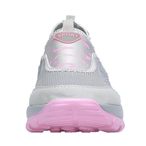 Scarpe da Sportive Ginnastica Leggero Heeled Running Casual Corsa DENGBOSN da Grigio Sneakers Outdoor Donna Fitness xgHnqXXI