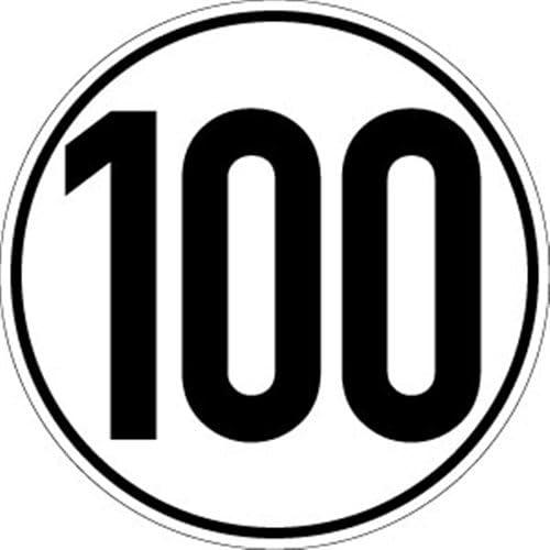 Sticker snelheidsschild 100 kmh folie20 cm