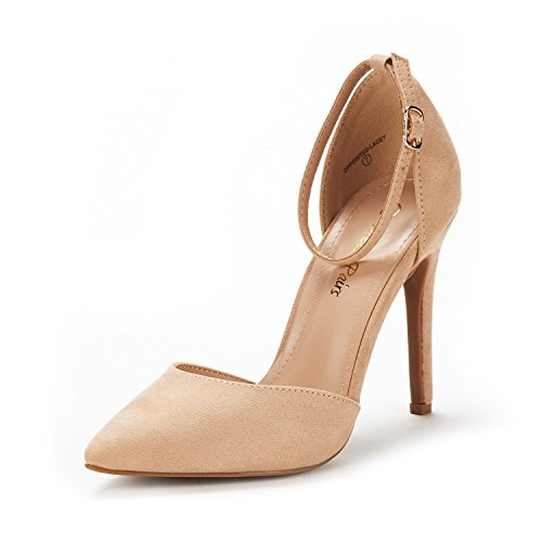 DREAM PAIRS Women's Oppointed-Lacey Nude Suede Fashion Dress High Heel Pointed Toe Wedding Pumps Shoes Size 5 M US