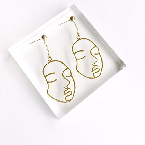 - High-Season 2017 New Arrival Abstract Stylish Hollow Out Face Dangle Earrings Girls Statement Drop Earrings boucles d'oreilles