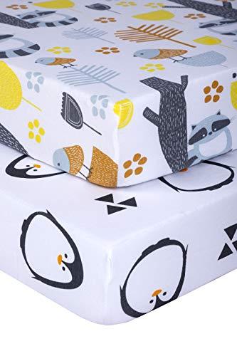 Pickle & Pumpkin 100% Organic Cotton Mini Crib Sheet 2 Pack | Graco Pack n Play Mattress Sheet | Fitted Crib Sheet for Playard, Play Pen, Portable Crib & Pack and Play Mattress | Baby Shower Gift