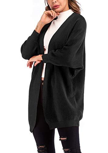 Autunno Autunno Autunno Sciolto Maglia A Chic Eleganti Giacca Manica Calda Libero Libero Libero Libero Nero Donna Moda Invernali Lunga Cappotto Solidi Cardigan Colori Maglia Outerwear Pipistrello A Tempo Manica WtOwvAqx80