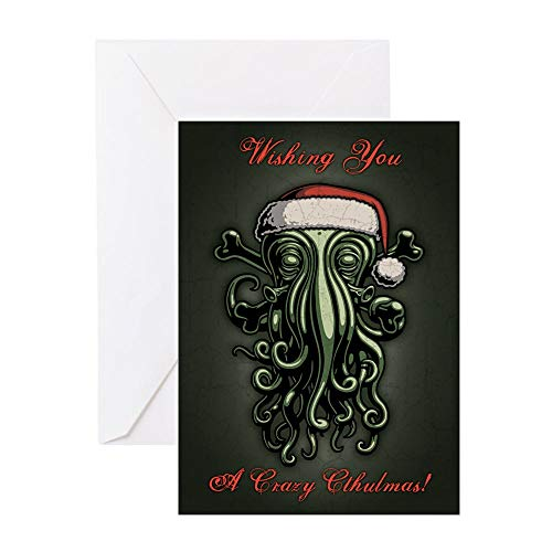 CafePress Cthulhu Claus T Greeting Card (20-pack), Note Card with Blank Inside, Birthday Card Glossy (Cards Christmas Cthulhu)