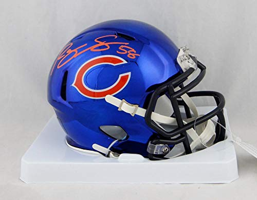 Roquan Smith Autographed Chicago Bears Blue Chrome Mini Helmet- Beckett Auth Red ()