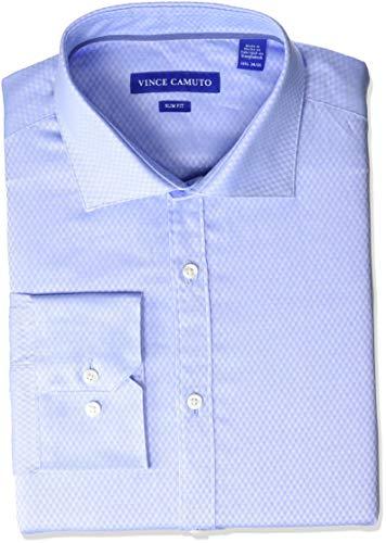 - VINCE CAMUTO Men's Slim Fit Spread Collar Solid Dress Shirt, Blue Diamond Dobby 16.5 34/35