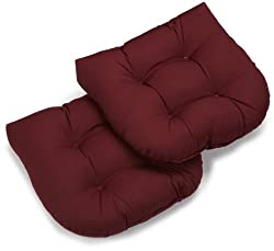 Blazing Needles Twill 19-inch By 19-inch By 5-inch U-shaped Cushions, Burgundy, Set Of 2