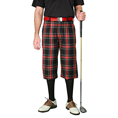 (Golf Knickers Plaid Mens 'Par 5' - Black Stewart - 36