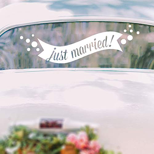 jtxqe Just Married Banner Etiqueta de Coche Decoración de ...