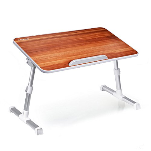 Writing Stand (Avantree Adjustable Laptop Table, Portable Standing Bed Desk, Foldable Sofa Breakfast Tray, Notebook Stand Reading Holder for Couch Floor - Minitable American cherry)