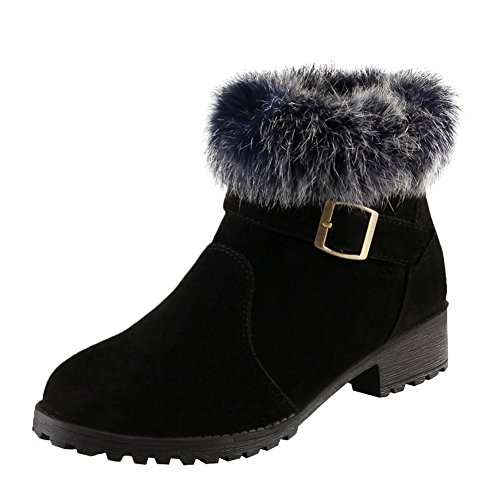 Latasa Womens Faux Fur Monk Strap & Zipper Chunky Heel Ankle Winter Boots Black iS3r8Vv0