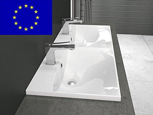 Doppel-Einbau-Waschbecken 120x46cm eckig | 120cm Doppel-Einbau-Waschtisch | Qualität MADE IN EU