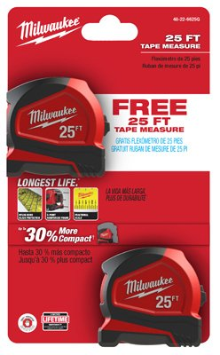 Milwaukee Electric Tool 48-22-6625G Heavy Duty, Compact Measuring Tapes (2 Piece), ()