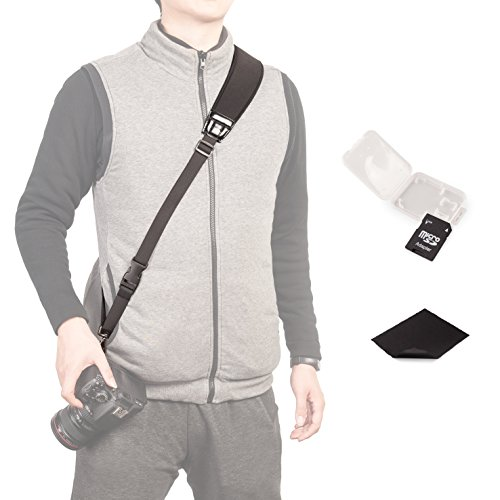 Photo Rapid Fire Camera Neck Strap w/ Quick Release and Safety Tether+TF Adaptor TF/SD Card Case Holder+Clean Cloth