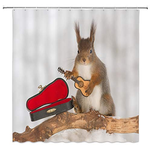 BCNEW Squirrel Shower Curtain Decor Music Guitar Creative Forest Animal Decorative Bathroom Curtain Polyester Fabric Machine Washable with Hooks 70 x 70 Inches