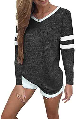 c7d4acb2910 Women s Winter Tops Casual V Neck Sport T Shirt Long Sleeve Blouses Tunic  Tops