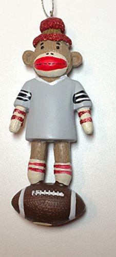 Sock Monkey Footballl Ornament 4.5