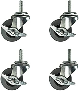 "Set of 4 Swivel Stem Casters 5/"" Polyurethane Wheels 1/"" Threaded Stem"