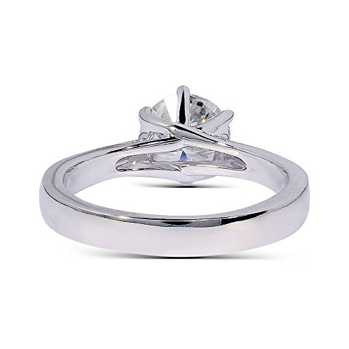 TransGems Platinum Plated Sterling Silver Excellent Cut Moissanite Ring, 1 carat, H-I Color from for women