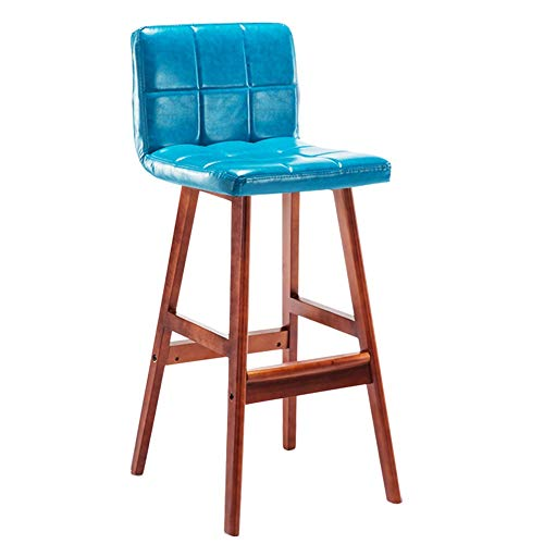 (CAIJUN Wooden Bar Stool Household Thicken PU Fabric Waterproof Non-Slip High Stool Nordic Style, 7 Colors Dual-use (Color : Blue, Size :)