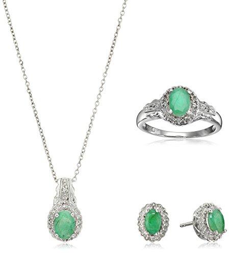 1.99 Carat Genuine Emerald & White Topaz .925 Sterling Silver Set, 18