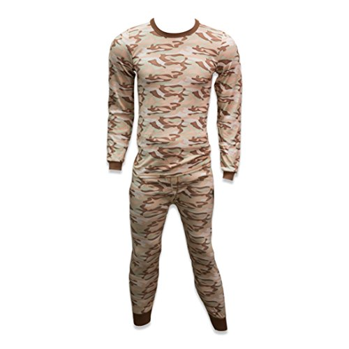 Print Long Cotton Underwear (Andrew Scott Mens Fleece Base Layer Long Sleeve Long Pant Thermal Underwear Set (X-Large 46-48, CAMOSAND))