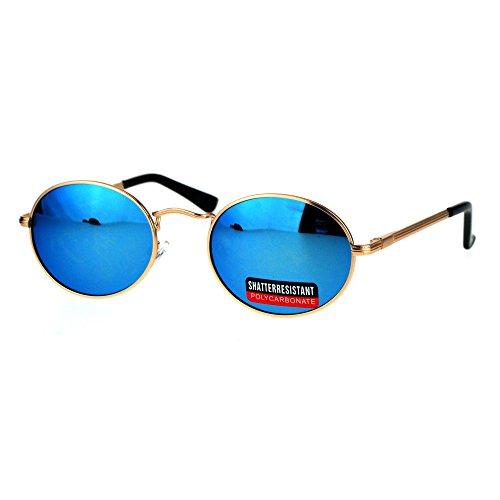 Mens 90s Gangster Rapper Mirror Lens Oval Retro Metal Rim Sunglasses Gold - Oval Lense Sunglasses
