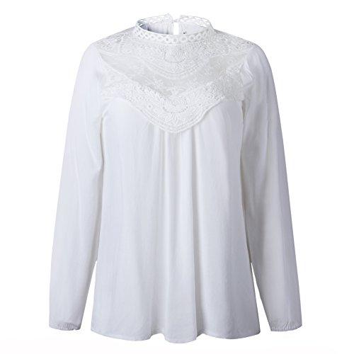 Blouse Automne Shirts Casual T Fashion Tees Blanc pissure Longues Manches Chemisiers Printemps Freestyle Col Hauts Dentelle Femmes Elgante et Tunique Shirts Rond Tops F4g1fnqw