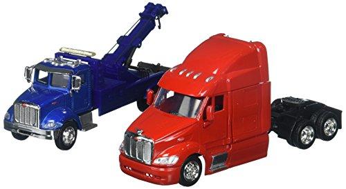 (NewRay 1:43 Long Haul Trucker - Peterbilt Model 335 Tow Truck & Model 387 Cab )