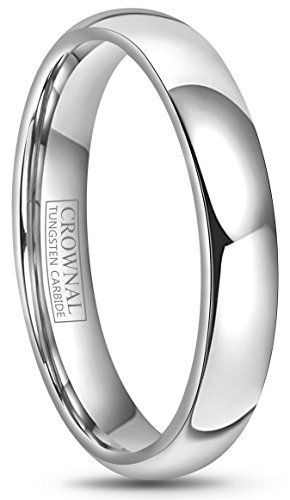 Crownal 4mm 6mm 8mm 10mm Tungsten Wedding Band Ring Men Women Plain Dome Polished Size Comfort Fit Size 3 To 17 (4mm,5.5) ()