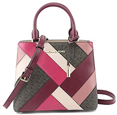 Amazon.com  MICHAEL Michael Kors Women s Adele MD Messenger Leather Mulberry  Multi b91ba3b49f75d