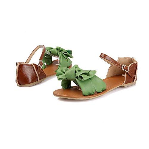 AalarDom Mujer Puntera Abierta Mini Tacón Material Suave Hebilla Sandalias de vestir Verde