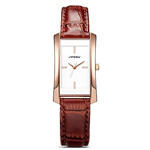 (SINOBI Women Brown Leather Wristwatch, Business Casual Lady Men Designer Simple Rectangular Watch Golden)