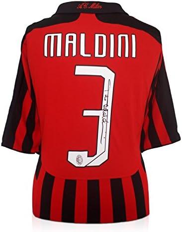 2007-08 AC Milan Home camiseta firmada por Paolo Maldini: Amazon ...
