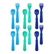 Re-Play Made In USA 12pk Utensils for Easy Baby, Toddler, Child Feeding - Sky Blue, Aqua, Navy Blue (True Blue)