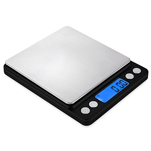 AMIR Digital Kitchen Scale, 500g/0.01g Mini Pocket Jewelry Scale, Cooking Food Scale with Backlit LCD Display, 2 Trays, 6 Units, Auto Off, Tare, PCS Function, Stainless Steel, Battery Included, (Digital Lab Scale)