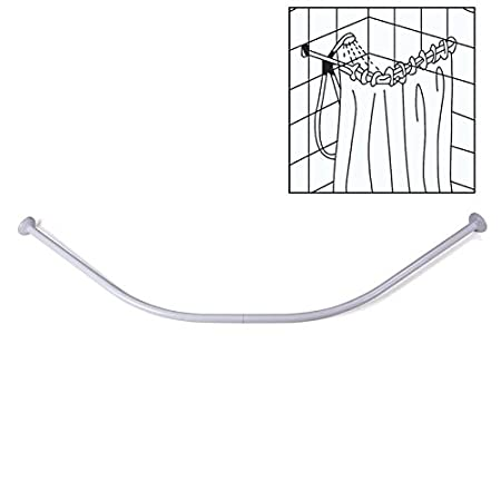 Half Round Semi Circular Shower Curtain Rod Rail Bar 2x 80 Cm White