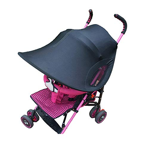 (Sun Shade for Strollers with Cabability to See Baby - Black - 99% UV Protection)