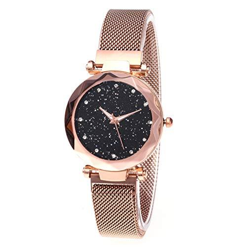 lightclub Magnetic Mesh Band Bracelet Starry Sky Women Watch Rhinestones Quartz Wristwatch for Women Men Rose Gold