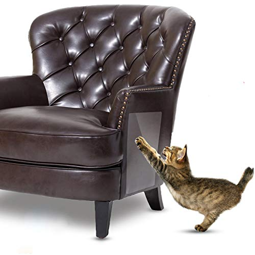 IN HAND Cat Scratch Furniture, 2 PCS Self-Adhesive Clear Flexible Vinyl Pet Cats Furniture Protectors for Protecting Your Furniture & Walls, Stops Scratching Pet Couch Protector