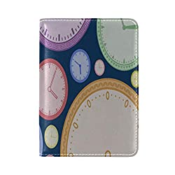 Passport Cover Case Wall Clock Life Decoration Timetable Leather&microfiber Multi Purpose Print Passport Holder Travel Wallet For Women And Men 5.51x3.94 In