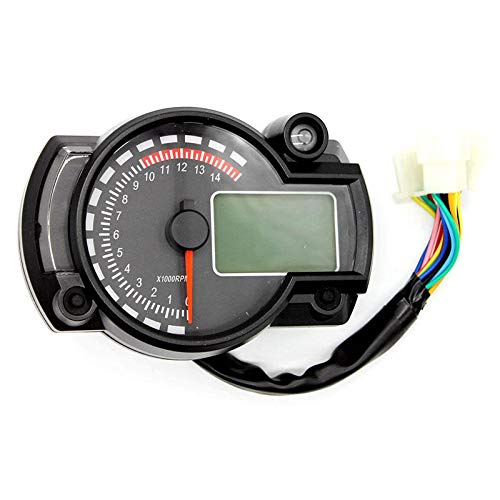 WonVon Motorcycle Digital Speedometer,7 Color Display 5000rpm Motorcycle Universal LCD Digital Speedometer Tachometer Odometer Gauge Odometer Instrument