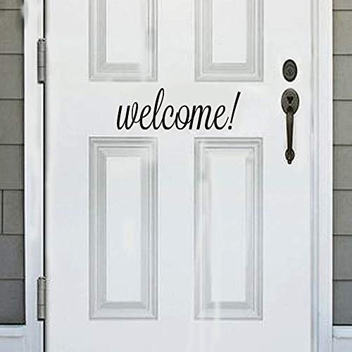FimKaul Hello Howdy Welcome Good Bye Home Wall Art Home Decor Stickers Door Stickers (Welcome Black)
