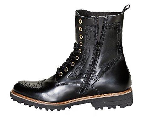 Nobrand Uniform Damen Leder Stiefelette Chelsea Schuhe, schwarz