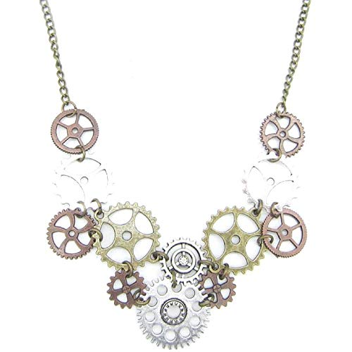 Steampunk Vintage Statement Necklace: (Steampunk Gears) for $<!--$17.98-->