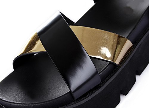 Adee Ladies Cross-Body-Strap Travel Polyurethane Sandals Black KGcdeoYXCj