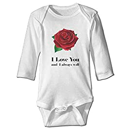 FGRYGF Long-Sleeve Bodysuit, Babywear, Baby Jumpers, Baby Infant I Love You Red Rose Bodysuit Outfits