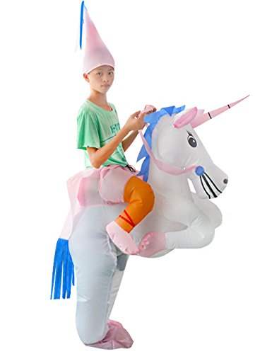 Costume Horse Halloween Ideas And Rider (Gameyly Adult Inflatable Unicorn Costume Horse Rider Outfit Fancy Dress Unisex)