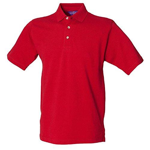 Henbury Classic schwere Pique Polo Shirt H100Vintage rot klein